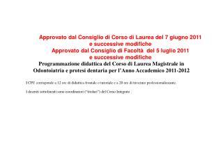Programmazione didattica del Corso di Laurea Magistrale in