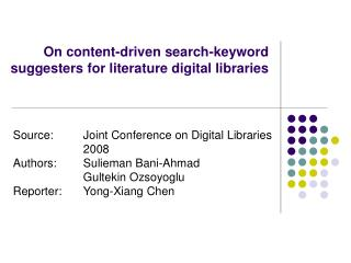 On content-driven search-keyword suggesters for literature digital libraries