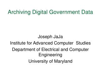 Archiving Digital Government Data