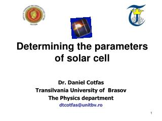 Determining the parameters of solar cell