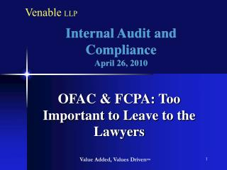 Internal Audit and Compliance April 26, 2010