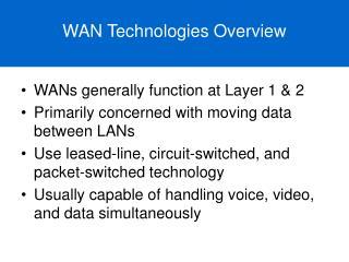 WAN Technologies Overview