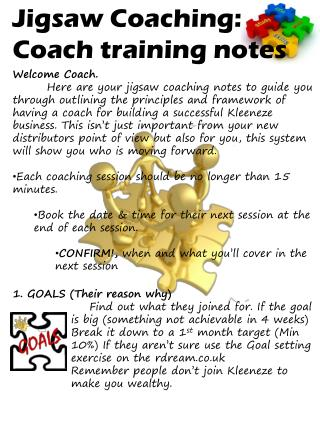 Jigsaw Coaching: Coach training notes