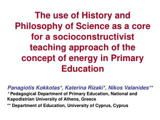 The use of History and Philosophy of Science as a core for a socioconstructivist teaching approach of the concept of ene