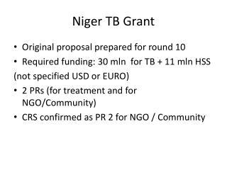 Niger TB Grant
