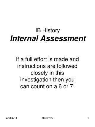 IB History  Internal Assessment