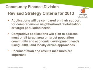 Revised Strategy Criteria for 2013
