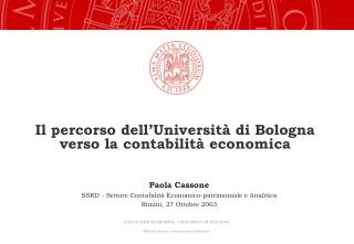 Il percorso dell'Università di Bologna verso la contabilità economica