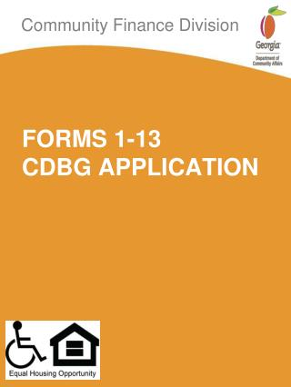 FORMS 1-13  CDBG APPLICATION