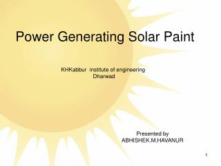 Power Generating Solar Paint
