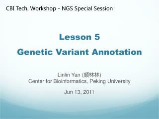 Lesson 5 Genetic Variant Annotation