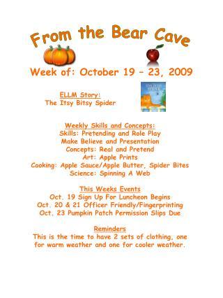 Week of: October 19 � 23, 2009
