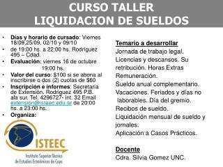 CURSO TALLER LIQUIDACION DE SUELDOS