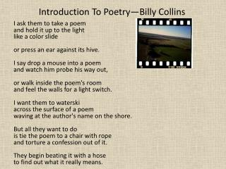 Introduction To Poetry�Billy Collins