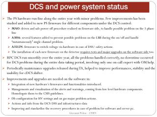DCS and power system status