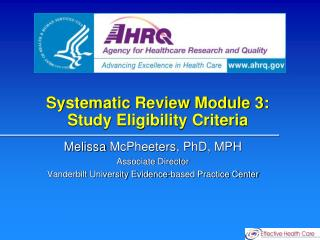 Systematic Review Module 3:  Study Eligibility Criteria