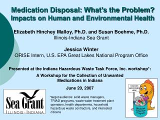 A Workshop for the Collection of Unwanted Medications in Indiana June 20, 2007