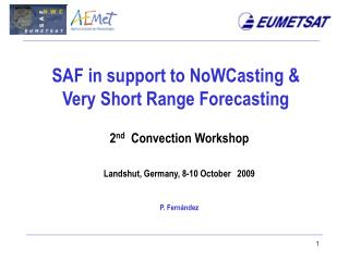 SAF in support to NoWCasting &  Very Short Range Forecasting