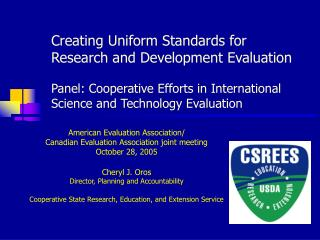American Evaluation Association/  Canadian Evaluation Association joint meeting October 28, 2005