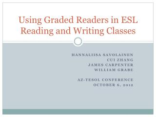 Using Graded Readers in ESL Reading and Writing Classes