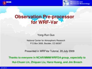 Observation Pre-processor for WRF-Var