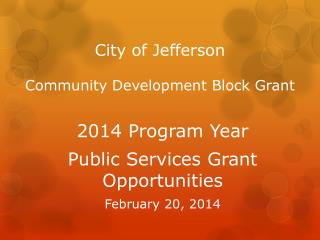 City of Jefferson Community Development Block Grant
