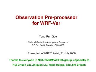 Observation Pre-processor for WRF-Var