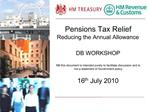 Pensions Tax Relief Reducing the Annual Allowance  DB WORKSHOP  NB this document is intended purely to facilitate discus