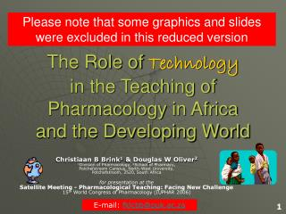 The Role of  Technology in the Teaching of Pharmacology in Africa  and the Developing World