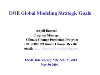 DOE Global Modeling Strategic Goals