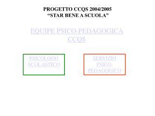 PROGETTO CCQS 2004/2005  �STAR BENE A SCUOLA�