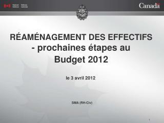 RÉAMÉNAGEMENT DES EFFECTIFS - prochaines étapes au  Budget 2012