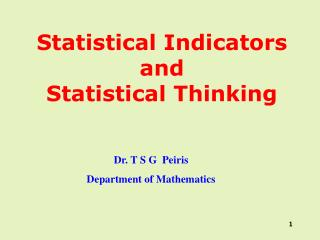 Statistical Indicators and Statistical Thinking