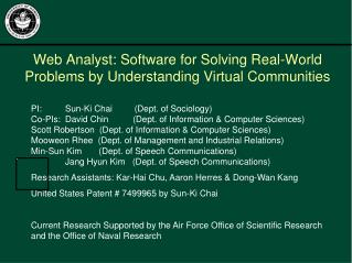 Web Analyst: Software for Solving Real-World Problems by Understanding Virtual Communities