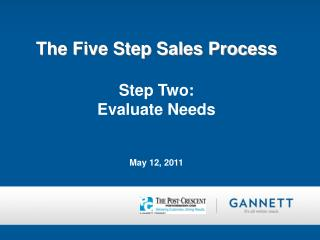 The Five Step Sales Process Step Two:   Evaluate Needs May 12, 2011