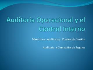 Auditoria Operacional y el Control Interno