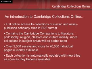 An introduction to Cambridge Collections Online�