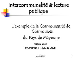 Intercommunalité & lecture publique
