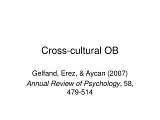 Cross-cultural OB