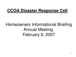 CCOA Disaster Response Cell