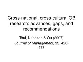 Cross-national, cross-cultural OB research: advances, gaps, and recommendations