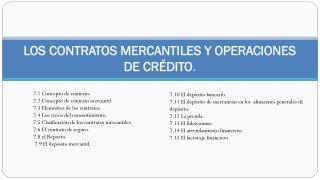 LOS CONTRATOS MERCANTILES Y OPERACIONES DE CRÉDITO .