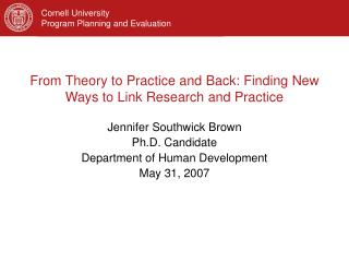 From Theory to Practice and Back: Finding New Ways to Link Research and Practice