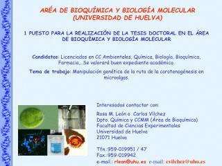 ARÉA DE BIOQUÍMICA Y BIOLOGÍA MOLECULAR (UNIVERSIDAD DE HUELVA)