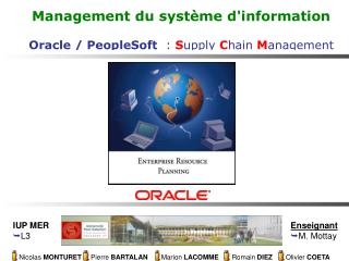 Management du syst�me d'information Oracle / PeopleSoft   :  S upply C hain M anagement