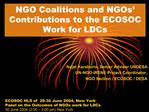 NGO Coalitions and NGOs  Contributions to the ECOSOC Work for LDCs