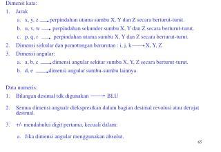 Dimensi kata: Jarak x, y, z        perpindahan utama sumbu X, Y dan Z secara berturut-turut.