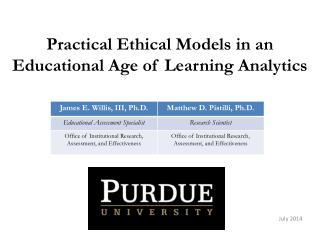 Practical Ethical Models in an Educational Age of Learning Analytics
