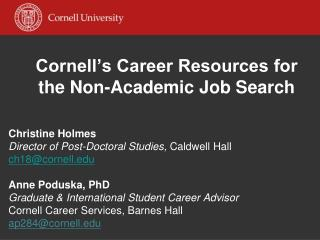 Cornell's Career Resources for the Non-Academic Job Search