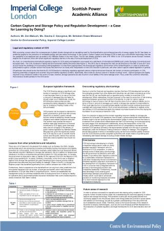Carbon Capture and Storage Policy and Regulation Development – a Case for Learning by Doing?